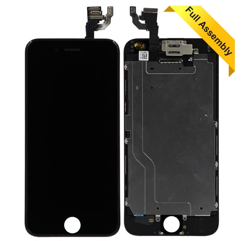 sale retailer c6720 c7f65 Full Assembly Glass Digitizer & LCD Display For iPhone 6 (VI) (Black) Flex  + Front Camera and Proximity Sensor