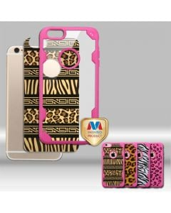 Apple iPhone 6 / 6s - MyBat Challenger FreeStyle Hybrid Cover w/ Zebra & Leopard Prints - Hot Pink / Clear