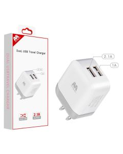 MyBat Dual USB Travel Wall Charger Adapter 2.1A - White