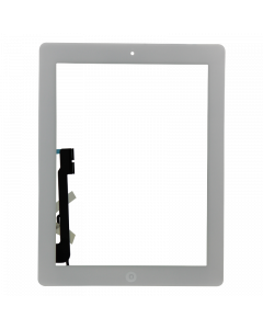Aftermarket Full Assembly Glass and Digitizer with Home Button and Adhesive, White, for iPad 4