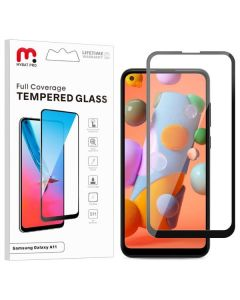 Samsung Galaxy A11 - MyBat Pro Full Coverage Tempered Glass Screen Protector - Black / Clear