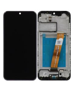LCD Screen and Digitizer Assembly w/ Frame for Samsung Galaxy A01 (Narrow Connector) (USB-C) (145.5 mm) (A015) (Black)