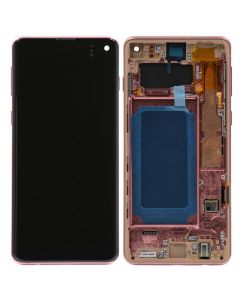 Refurbished - OLED Screen and Digitizer Assembly w/ Frame for Samsung Galaxy S10 (G973) (Flamingo Pink)