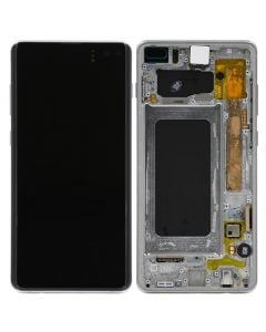 Refurbished - OLED Screen and Digitizer Assembly w/ Frame for Samsung Galaxy S10 Plus (G975) (Prism White)