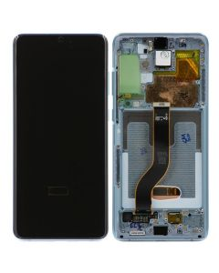 Refurbished - OLED Screen and Digitizer Assembly w/ Frame for Samsung Galaxy S20 Plus (G985) (Cloud Blue)