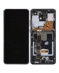 OEM Pull - OLED Screen and Digitizer Assembly w/ Frame for Samsung Galaxy S20 Ultra (All Carriers except Verizon 5G UW) (G988) (Grade B+) (Cosmic Black)