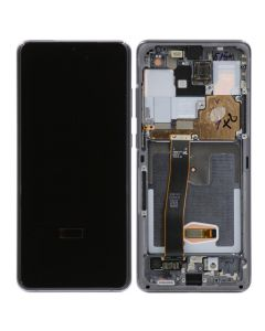 OEM Pull - OLED Screen and Digitizer Assembly w/ Frame for Samsung Galaxy S20 Ultra (All Carriers except Verizon 5G UW) (G988) (Grade C) (Cloud Grey)