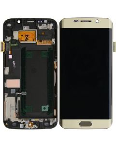Refurbished - OLED Screen and Digitizer Assembly w/ Frame for Samsung Galaxy S6 Edge (G925) (Gold Platinum)