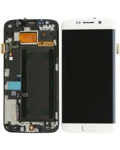Refurbished - OLED Screen and Digitizer Assembly w/ Frame for Samsung Galaxy S6 Edge (G925) (White Pearl)