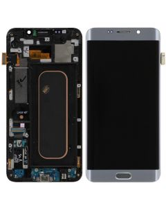Replacement Samsung Galaxy S6 Edge + Plus LCD Screen & Digitizer Assembly, Silver with Home Button Keypad